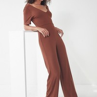 UO Ribbed Knit V-Neck Jumpsuit | Urban Outfitters