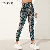 Blue Snake Skin Print Leggings