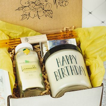 Happy Birthday Sunshine Gift Box with Soy Candle and Lemonade