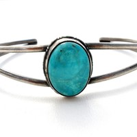 Turquoise Bracelet Cuff Sterling Silver