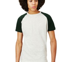 The Idle Man Short Sleeve Raglan T-Shirt Green