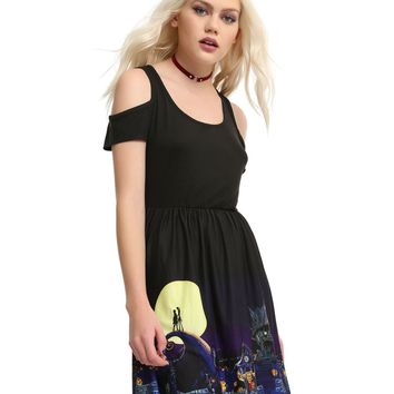 Licensed cool Disney The Nightmare Before Christmas Halloween Town Cold Shoulder Dress JRS NWT