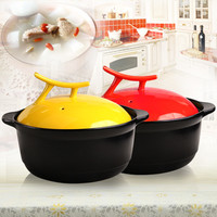 Candy color vertical lid ceramic casserole cooking pot sauceboxes soup cooker soup pot lid 3l