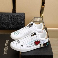 DCCK D&G DOLCE & GABBANA Women's Leather Fashion Sneakers Shoes