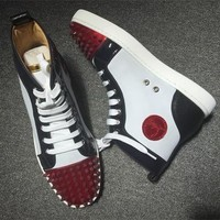 Cl Christian Louboutin Lou Spikes Style #2209 Sneakers Fashion Shoes - Sale