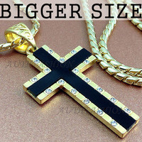 18K Gold Plated Mens BIG Cross Necklace Pendant Chain w Onyx gift idea 24B