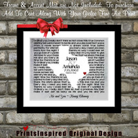 Custom Bridal Shower Song Lyric Wedding Gift: Any State Map For Bride Groom Husband Wife Texas Print Me and You Kenny Chesney Song Lyrics