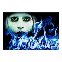 Blue Fire Demon Woman Abstract Sci Fi Art Poster