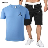 NIKE Jordan New fashion people print top and shorts two piece suit men 2# Blue