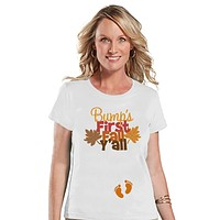 7 ate 9 Apparel Womens Bump's First Fall Pregnancy Announcement T-shirt