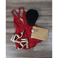The Jetset Diaries - La Paz Romper in Crimson Red