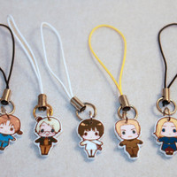 Chibi Hetalia  phone charm strap Italy, America, Germany, Japan, or France