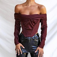 yelainse29 women's hot sale long-sleeved one-shoulder corset top