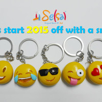 Yellow Smiley Faces of Whats app and Facebook - A gift for 2015 with 20% discount - 5 keychains included