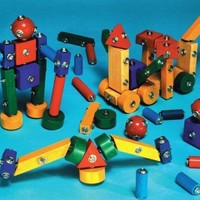 Marvel Snap-N-Play Wood Block Set - Assorted Shapes - Set of 65 - Assorted Colors