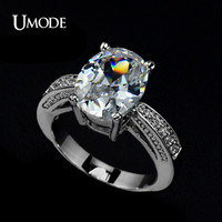 UMODE Big Oval-cut 5ct Egg Shaped Cubic Zirconia Cubic Zirconia Finger Ring UR0004