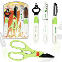 4 pc set Knife, Peeler, Bottle Opener and scissors, Best home kitchen tools for fruits and veggies - kitchen gadgets set