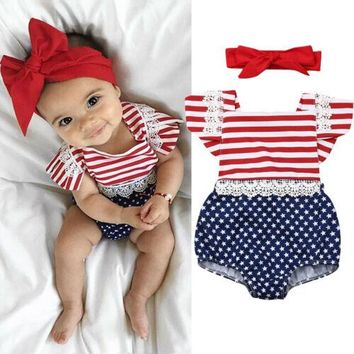 US Newborn Baby Girl 4th Of July Stripe Clothes Romper Jumpsuit Headband Outfits