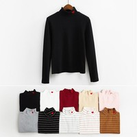 2017 All Match Cute Red Heart Embroidered Turtleneck Elastic Thick Warm Basic Female Long Sleeve T-shirts