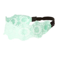 Mint Crocheted Floral Lace Headwrap