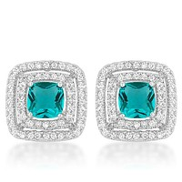 Idella Aqua Princess Cut Halo Stud Earrings | 3ct