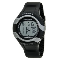 Freestyle 101183 Men's Workout 75-Lap Grey Dial Black Rubber Strap Alarm Digital Watch