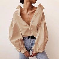 2020 New Women's Woven Single-breasted Cardigan Lantern Sleeve Long Sleeve Shirt Top