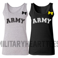 Army Tank Top Shirt, Custom Military Shirt for Wife, Fiance, Girlfriend, Workout