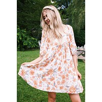 Elysa Floral Tie Sleeve Dress, Ivory | Extended Sizes Available
