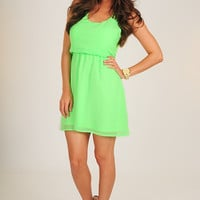 Jump To Conclusions Dress: Neon Green