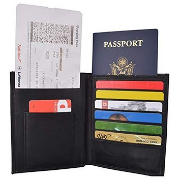 Leather USA Passport Holder Cover Case & Travel Wallet for Men & Women Boarding Pass Credit Card Holder Protection
