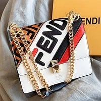 Fendi Fashion New Letter Leather Chain Shoulder Bag Crossbody Bag White