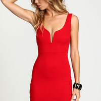 Red Plunge Strappy Cut Out Dress