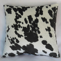 "Black & White Faux Cowhide Pillow Cover, 17"" Square, Spotted Hide, Cowboy Western Decor, Zipper Cover Only, Ready Ship"