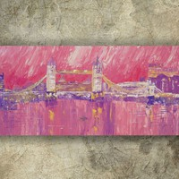View: LONDON palette knife painting 60x120x4 cm Large painting S040 OOAK Thames pink decor original big art ready to hang painting acrylic on stretched canvas wall art by artist Ksavera | Artfinder