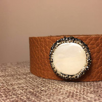 Leather Cuff Bracelet with Paved Pearl Coin Adjustable Bracelet Multi Color Available