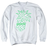 PSYCH/PINEAPPLE - ADULT CREWNECK SWEATSHIRT - WHITE -
