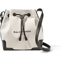 Balenciaga - Bucket leather-trimmed canvas shoulder bag