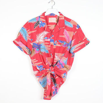 Vintage 80s Hawaiian Shirt Faded Red Cotton Boyfriend Shirt Palm Tree Tropical Sunset Novelty print 1980s Oversized Blouse L Extra Large XL