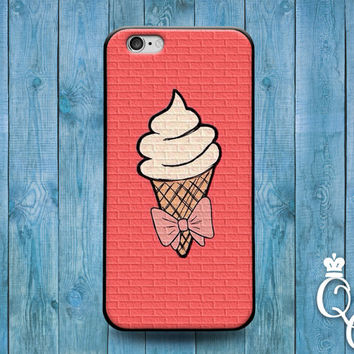 iPhone 4 4s 5 5s 5c 6 6s plus iPod Touch 4th 5th 6th Generation Custom Pink Bow Ice Cream Iced Cone Cool Funny Fun Girly Girl Cover Case 1