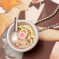 Necklace - Japanese Char Siu Pork Ramen Noodle Soup Bowl Handmade by Roscata