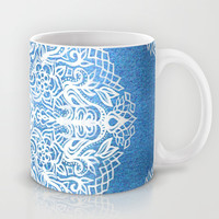 White Gouache Doodle on Pearly Blue Paint Mug by Micklyn