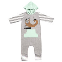 Rags to Raches - 3/4 Sleeve Hooded Romper - 'The Captain' / Black & Brown