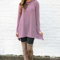 Button Me Up Plum Button Detail Tunic