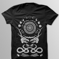 Rabbit Skull Antler Collage Black T-Shirt