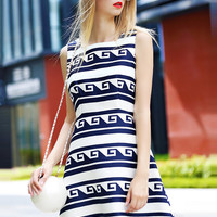 Blue White Sleeveless Prined A-Line Mini Dress