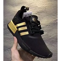 x1love : Versace x Adidas NMD_R1 Black/Gold Sneakers Trending Running Sports Shoes