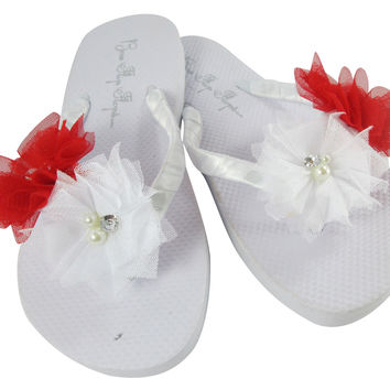 White Flip Flops with Red Flowers- Bride & Bridesmaid Sandals in Flat or Wedges