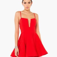 Red Strappy Cut-Out Skater Dress