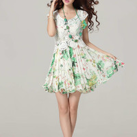 New Fashion Floral Round Collar Short Sleeve Dress